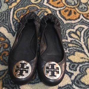 "Tory Burch ""Reva"" Flat Black 7.5. Great condition!"